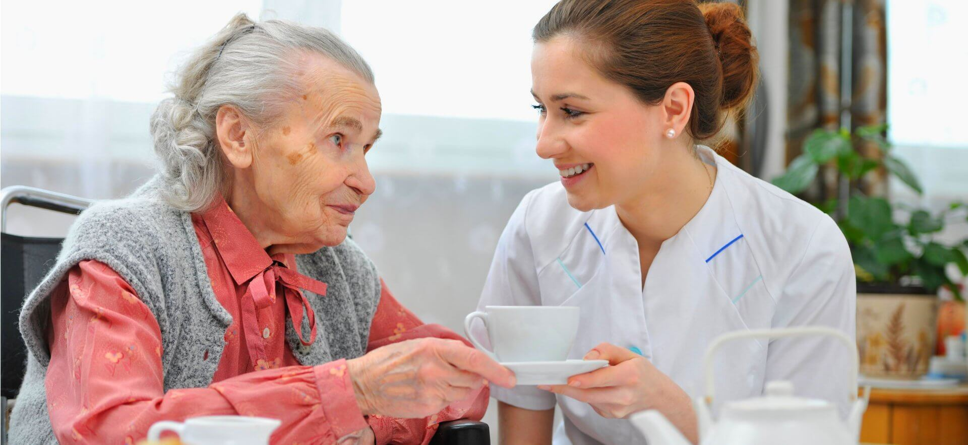 Caregiver is giving a cup of tea to the old woman
