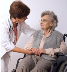 Nurse with her old patient