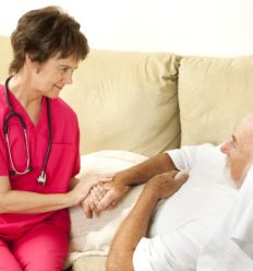 Caregiver with her old patient